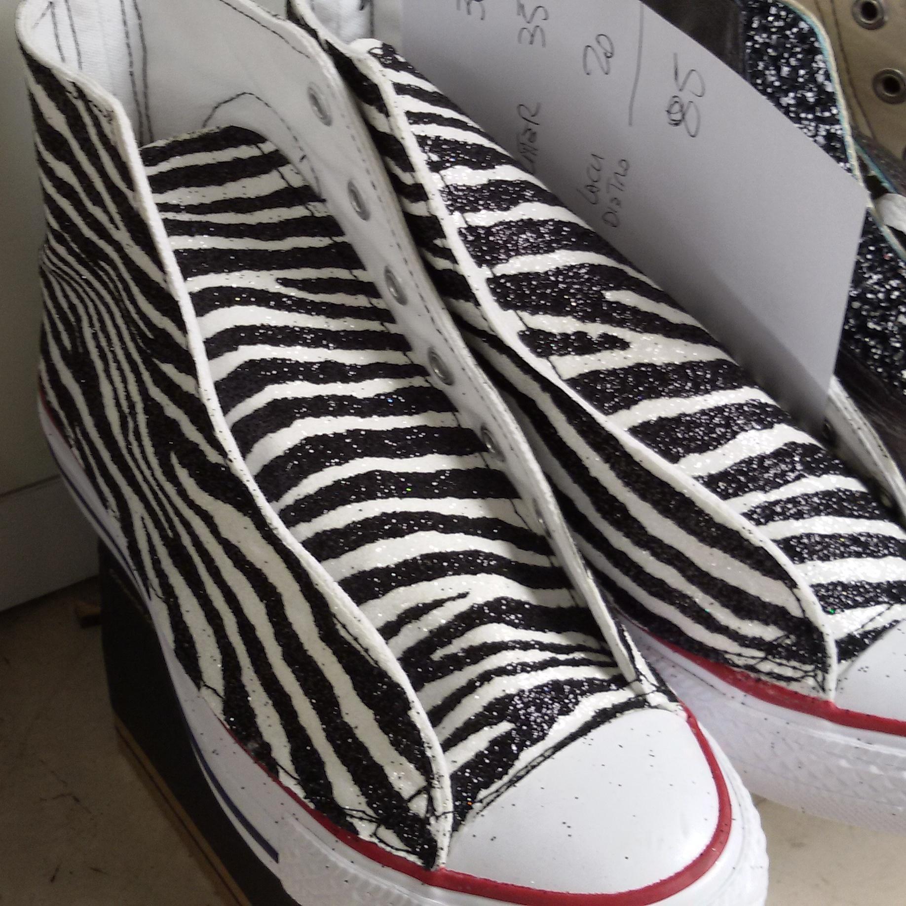 Artigianocalzolaio all star rivestita in glitter zebrato